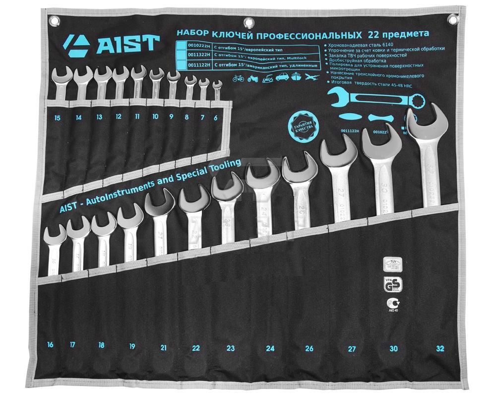 Набор комбинированных гаечных ключей в чехле, 22 шт. Aist 0010222h (6 - 32 мм) набор торцевых головок jonnesway 3 8dr 6 22 мм и комбинированных ключей 7 17 мм 36 предметов