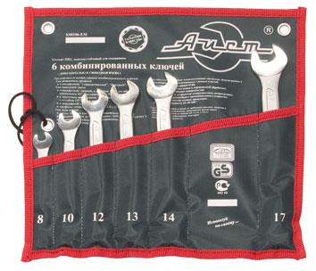 Набор комбинированных гаечных ключей, 6 шт. Aist 0011206ax-m (8 - 17 мм) набор комбинированных гаечных ключей в чехле 6 шт skrab 44046 8 17 мм