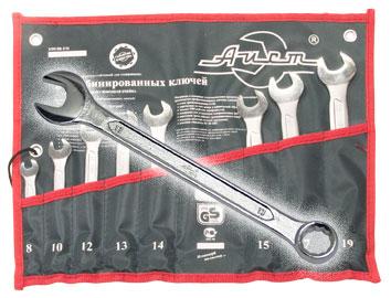 Набор комбинированных гаечных ключей, 8 шт. Aist 0011408bx-m (8 - 19 мм) набор комбинированных гаечных ключей в держателе 8 шт fit 63416 8 19 мм