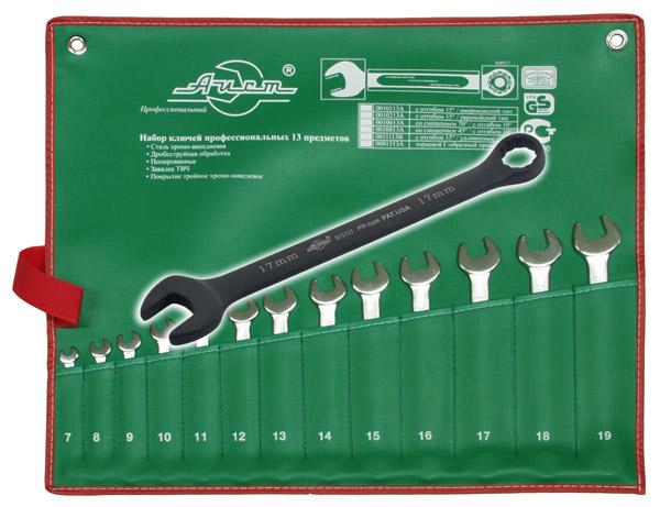 цена на Набор комбинированных гаечных ключей, 13 шт. Aist 11113 (7 - 19 мм)
