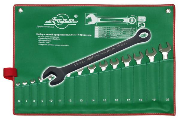 Набор комбинированных удлиненных гаечных ключей, 15 шт. Aist 11115 (6 - 22 мм) набор комбинированных гаечных ключей 12 шт курс 63418 6 22 мм