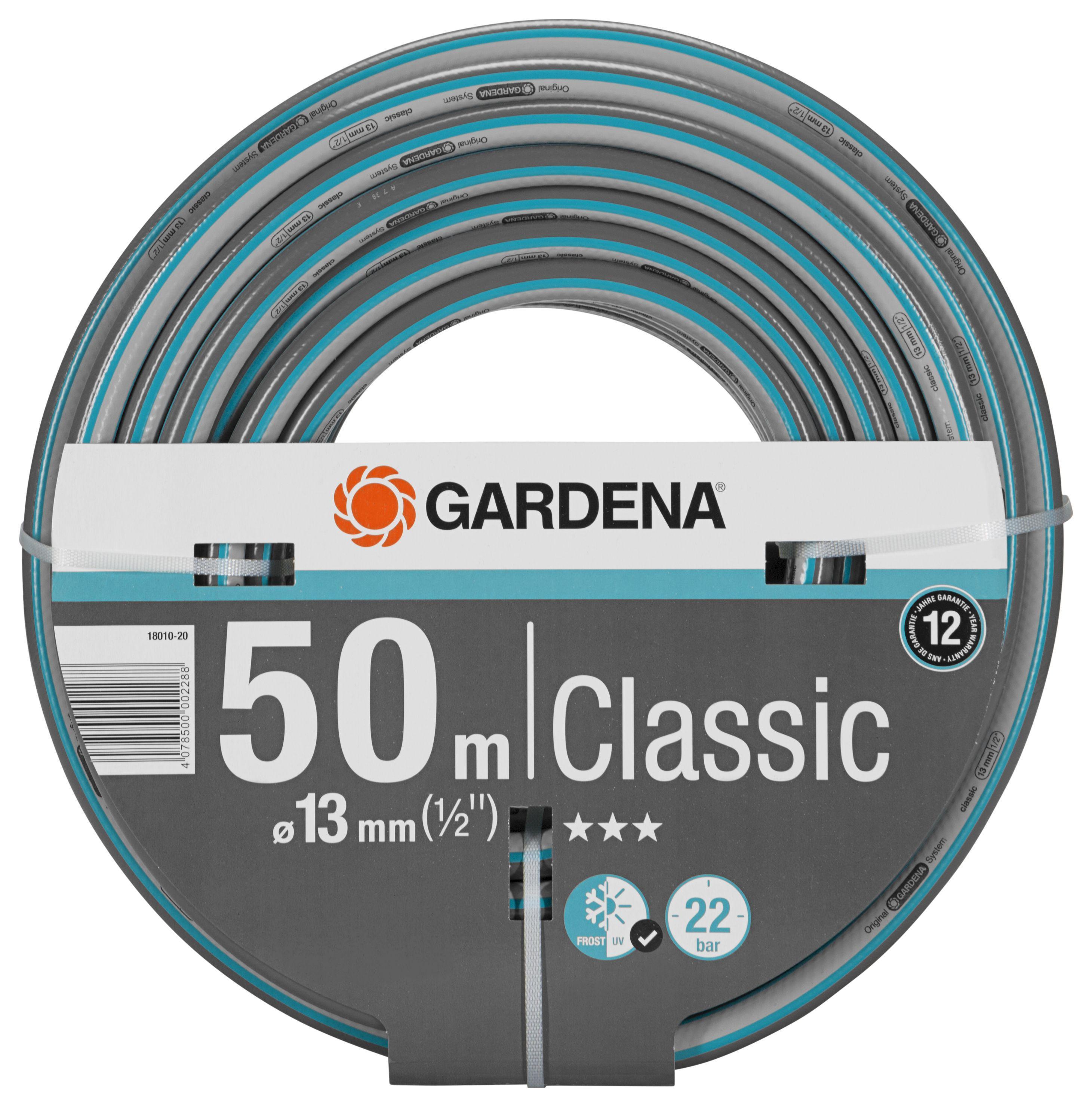 Шланг Gardena Classic 18010 длина 50м диаметр 13мм (1/2'') 22бар (18010-20.000.00) цена и фото