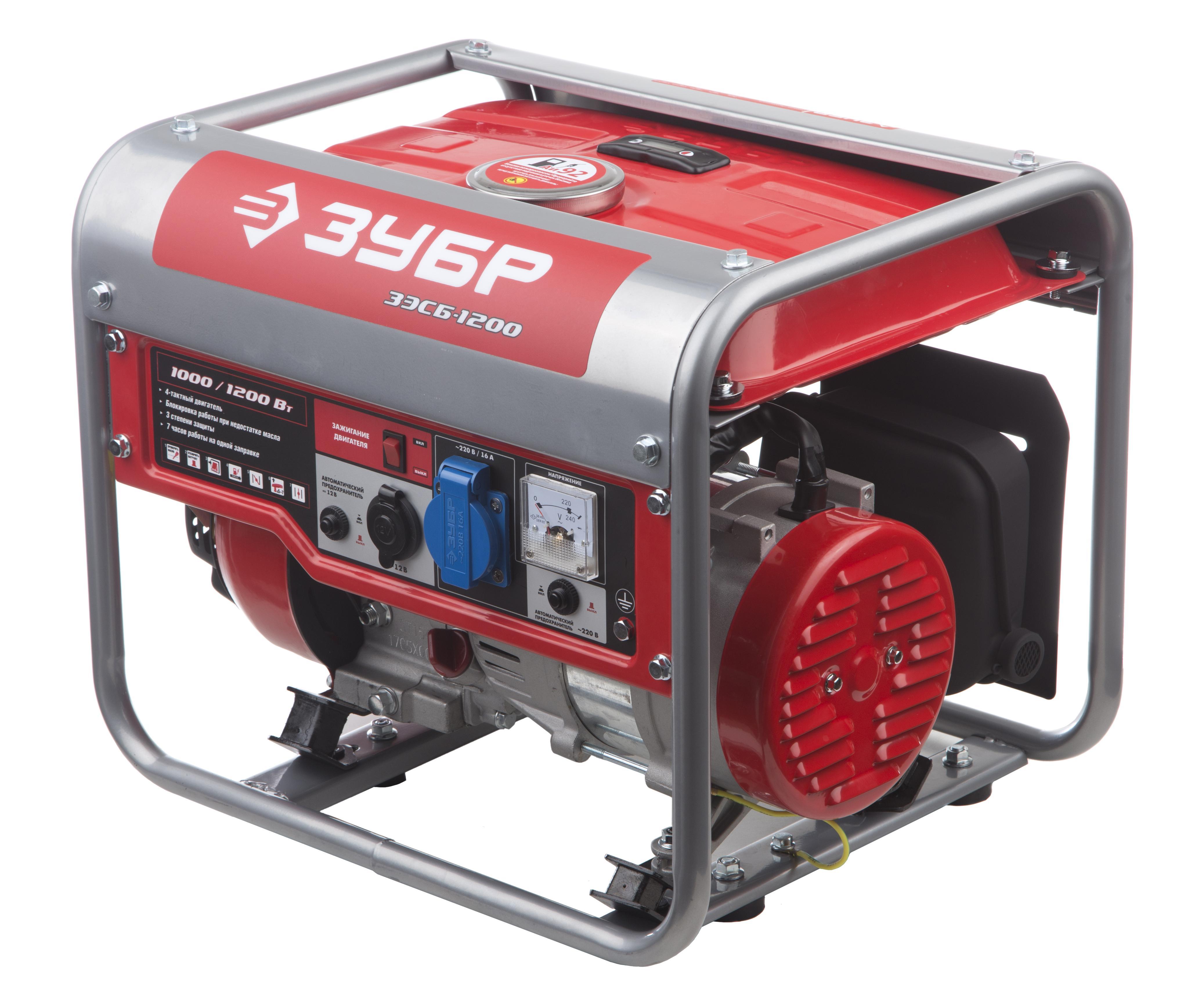 Бензиновый генератор ЗУБР ЗЭСБ-1200 генератор бензиновый зубр зэсб 1200