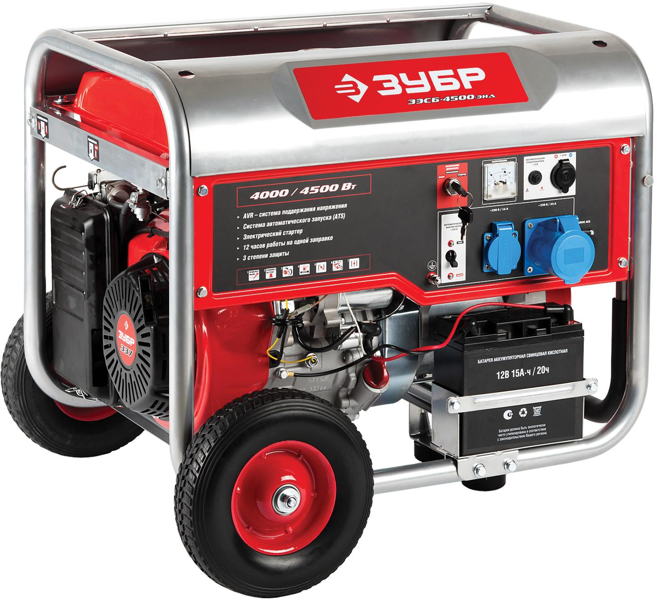 Бензиновый генератор ЗУБР ЗЭСБ-4500-ЭНА генератор бензиновый зубр зэсб 1200