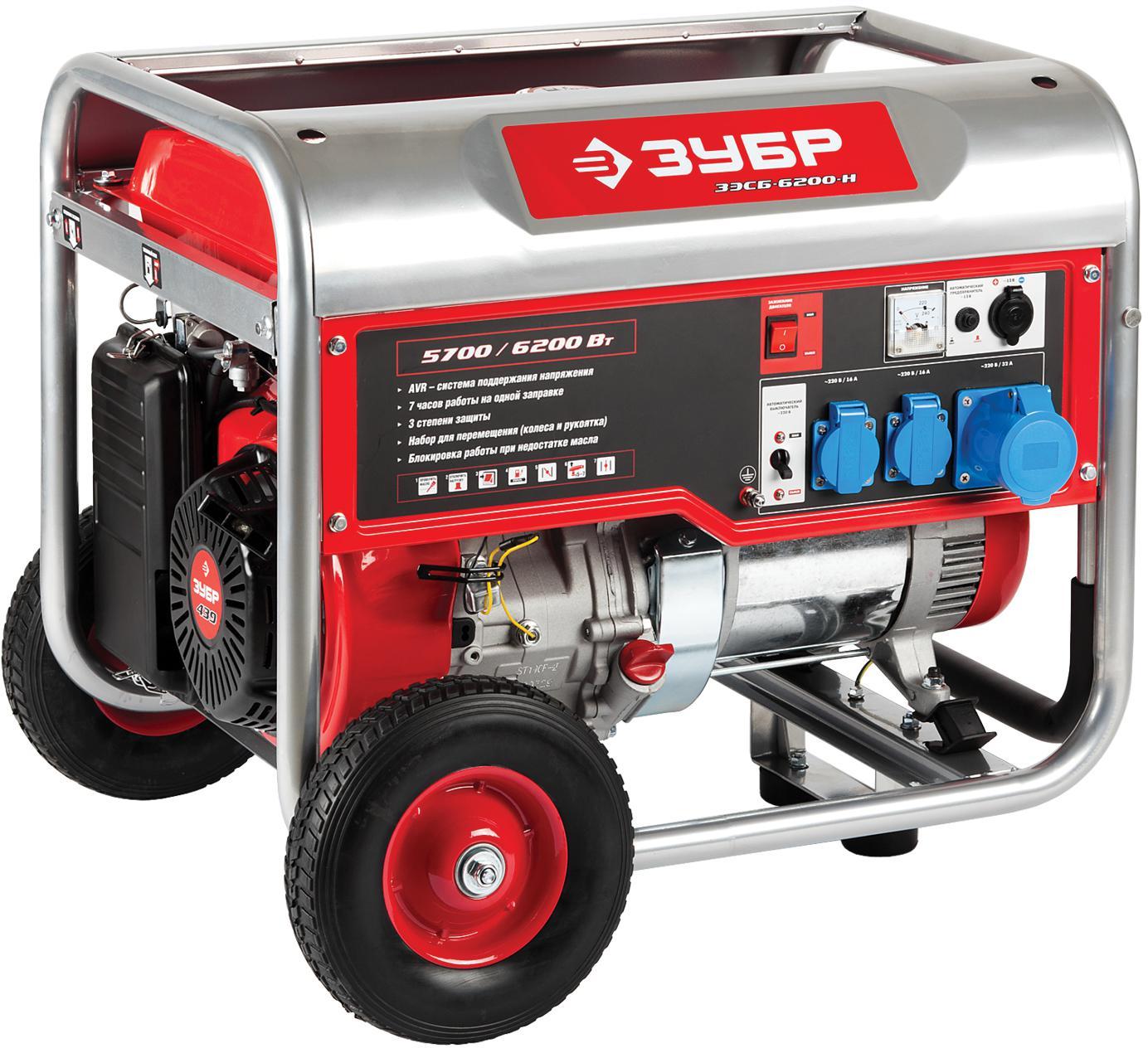Бензиновый генератор ЗУБР ЗЭСБ-6200-Н генератор бензиновый зубр зэсб 1200