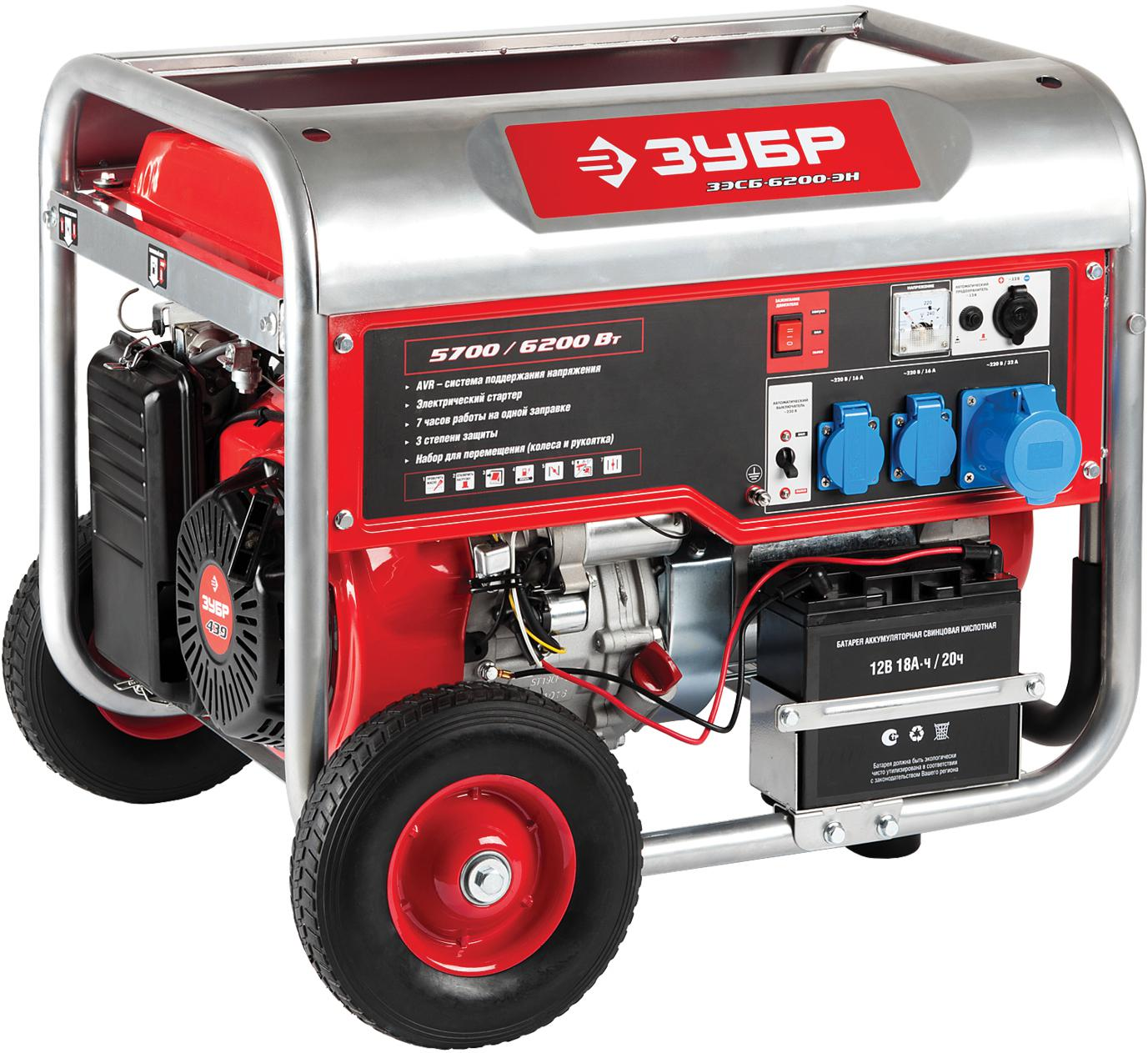 Бензиновый генератор ЗУБР ЗЭСБ-6200-ЭН генератор бензиновый зубр зэсб 1200