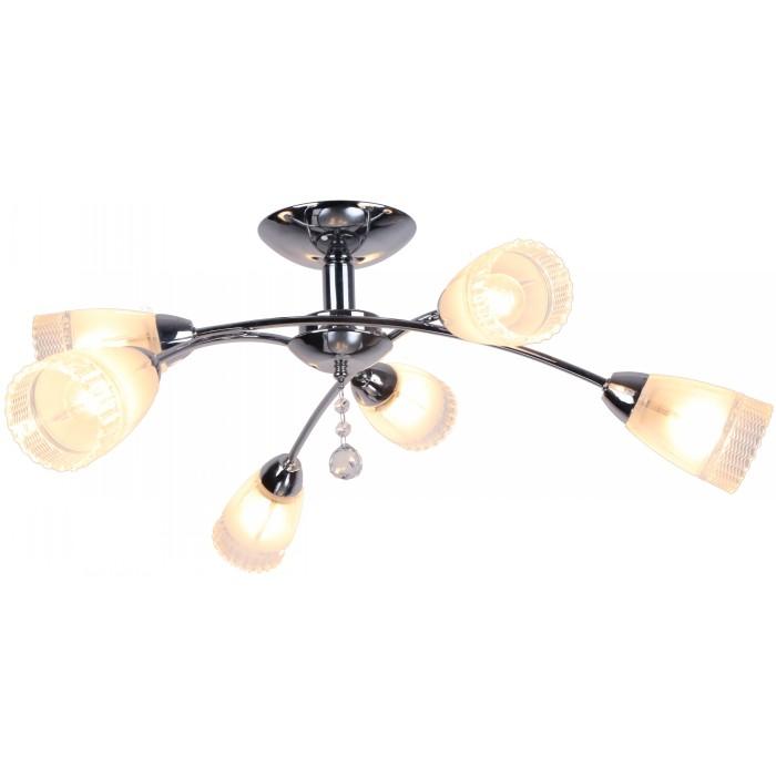 Люстра Arte lampЛюстры<br>Назначение светильника: для гостиной,<br>Стиль светильника: модерн,<br>Тип: потолочная,<br>Материал светильника: металл, стекло,<br>Материал плафона: стекло,<br>Материал арматуры: металл,<br>Диаметр: 760,<br>Высота: 230,<br>Количество ламп: 6,<br>Тип лампы: накаливания,<br>Мощность: 60,<br>Патрон: Е14,<br>Цвет арматуры: хром<br>