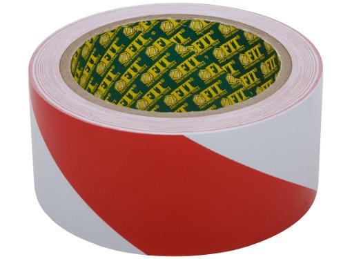 Лента разметочная клейкая FIT красно-белая 50мм х 25м (11858)