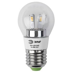 Лампа светодиодная ЭРА 360-led p45-5w-840-e27