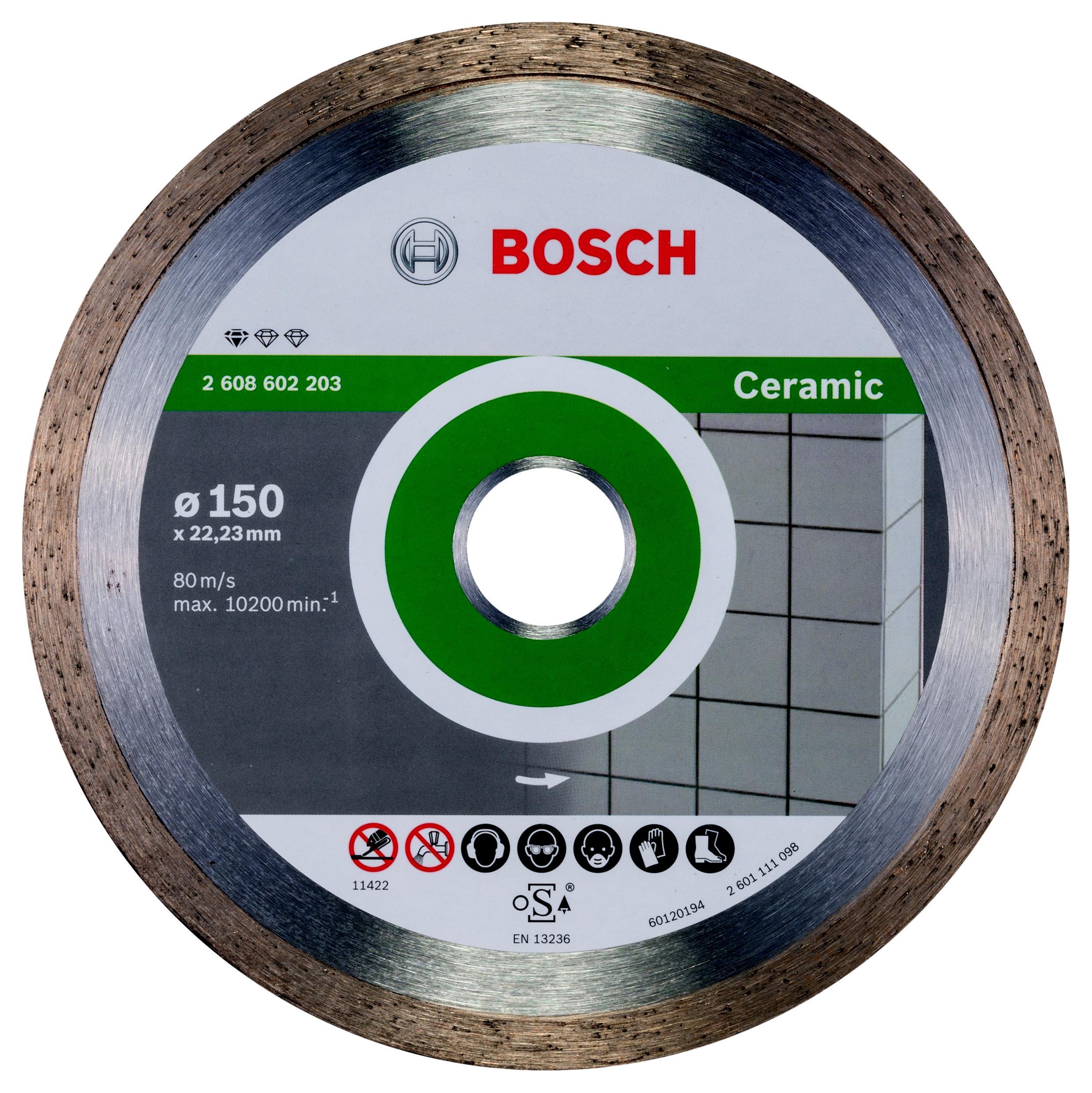 Круг алмазный Bosch Standard for ceramic 150x22 корона (сплошной)(2.608.602.203) алмазный диск bosch standard for ceramic 115 22 23 2608602201