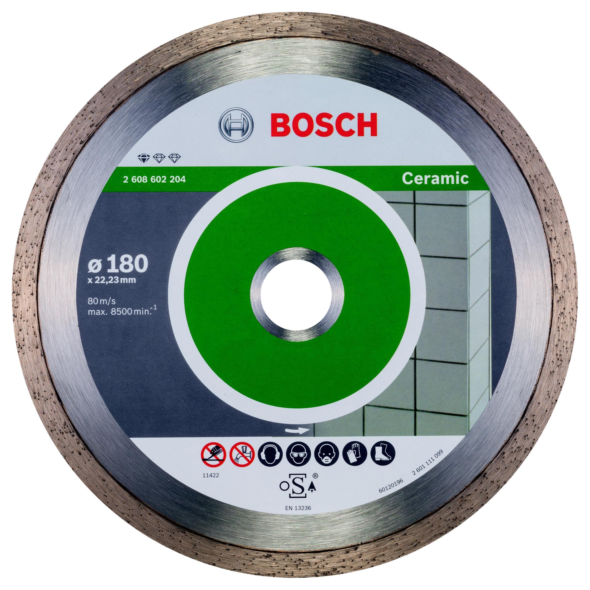 Круг алмазный Bosch Standard for ceramic 180x22 корона (сплошной)(2.608.602.204) алмазный диск bosch standard for ceramic 115 22 23 2608602201