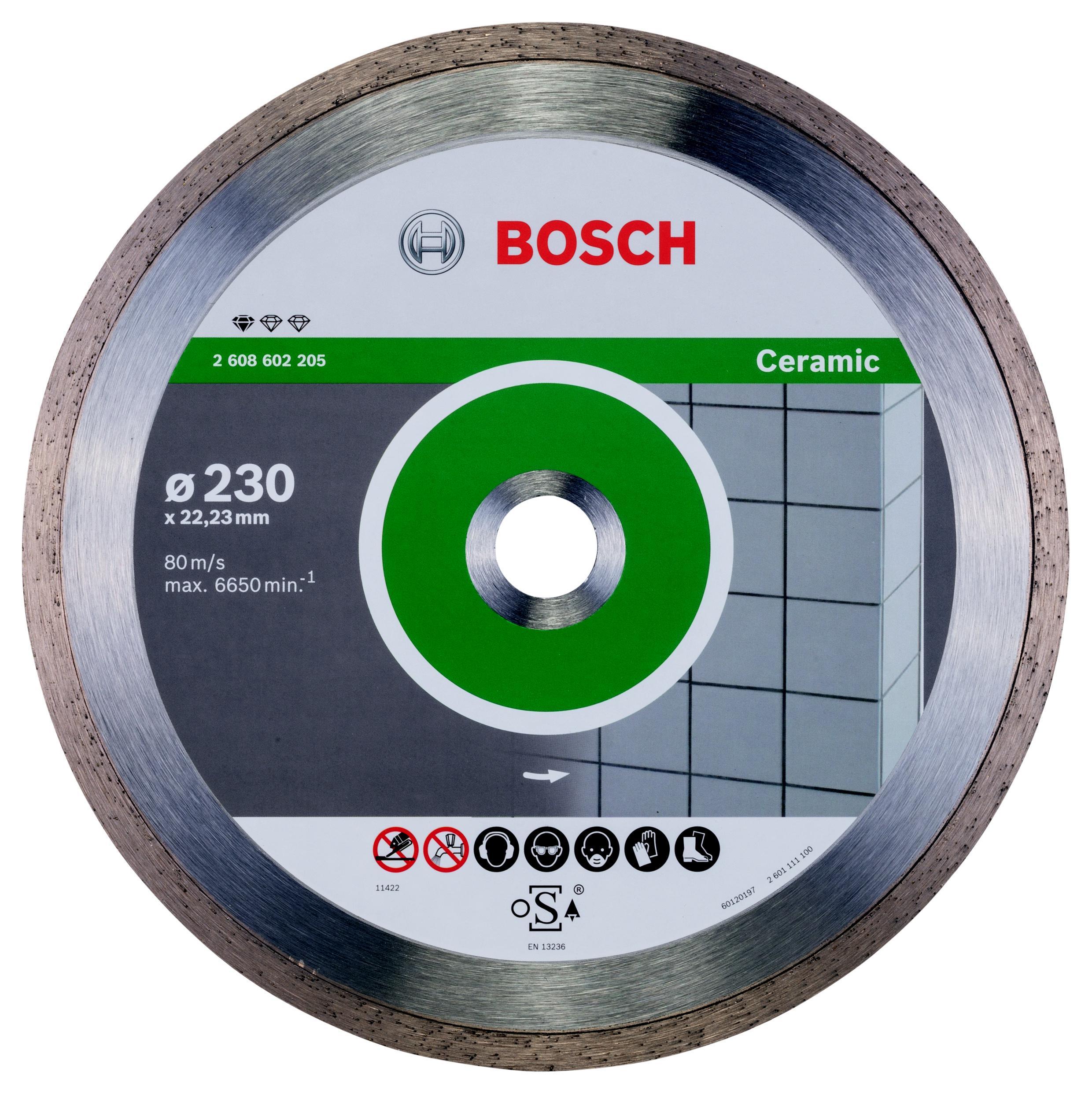 Круг алмазный Bosch Standard for ceramic 230x22 корона (сплошной)(2.608.602.205) алмазный диск bosch standard for ceramic 115 22 23 2608602201