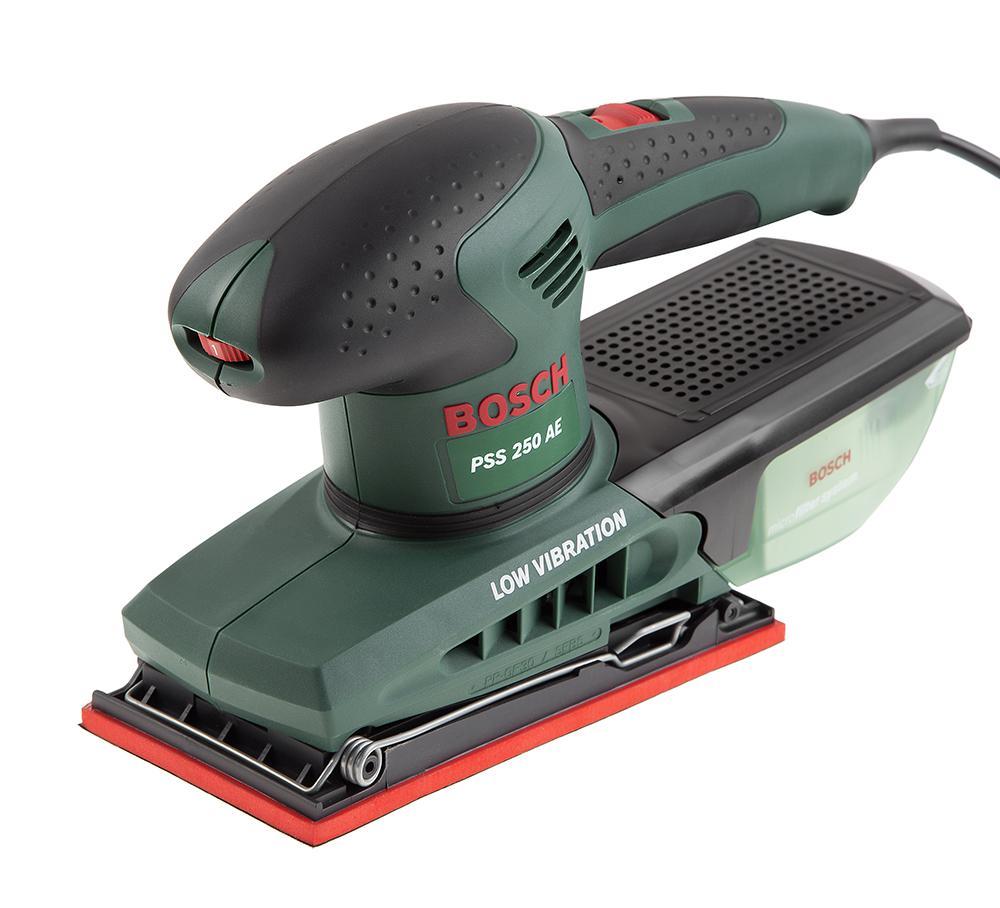 Машинка шлифовальная плоская (вибрационная) Bosch Pss 250 ae (0.603.340.220) машинка шлифовальная плоская вибрационная bosch gss 23 ae 0 601 070 721