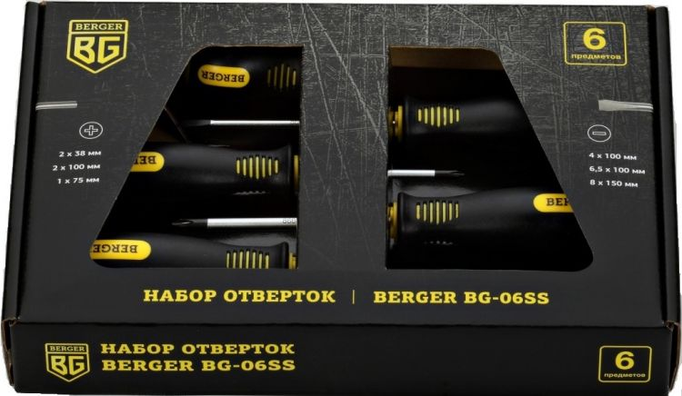 Набор отверток Berger Bg-06ss набор отверток berger часовых 6 предметов bg1068