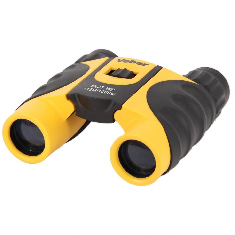 Бинокль Veber 8*25 wp черный-желтый бинокль veber omega 7–18x42 wp