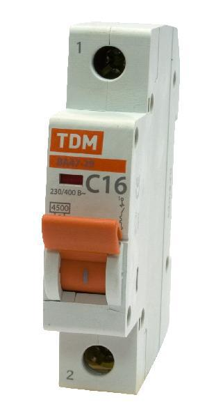 Автомат ТДМАвтоматические выключатели<br>Номинальный ток: 16,<br>Тип выключателя: автомат,<br>Количество полюсов: 1,<br>Номинальная отключающая способность: 4500,<br>Степень защиты от пыли и влаги: IP 20,<br>Количество модулей: 1<br>