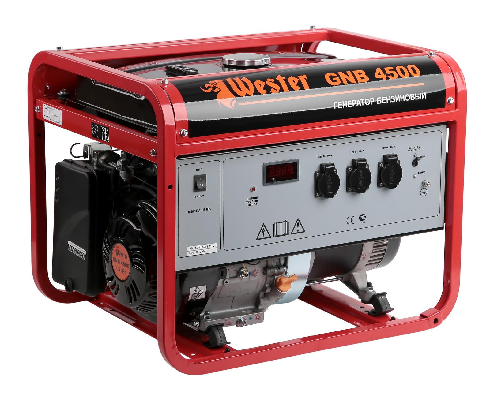Бензиновый генератор Wester Gnb4500 расширительный бак wester wrv8