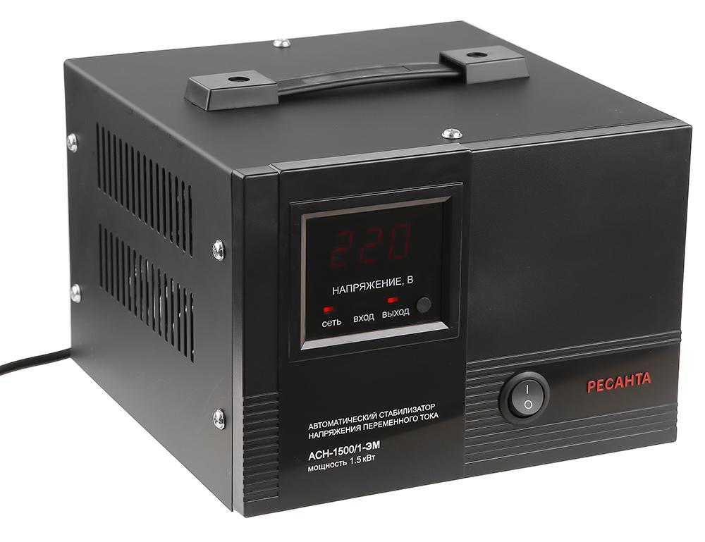 Стабилизатор напряжения РЕСАНТА АСН-1500/1-ЭМ стабилизатор ресанта асн 9000 3 эм