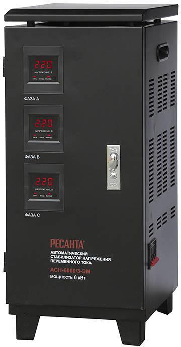 Стабилизатор напряжения РЕСАНТА АСН-6000/3-ЭМ стабилизатор ресанта трехфазный асн 9000 3