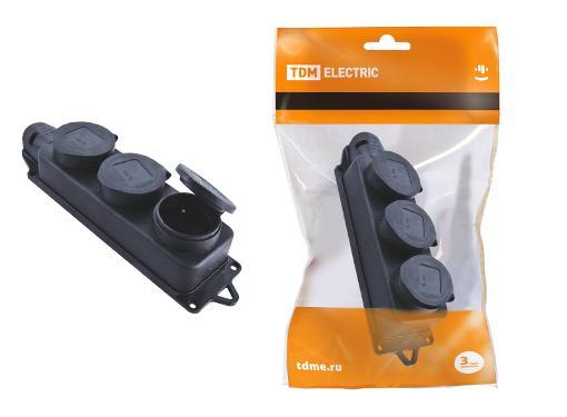 Розетка кабельная TDM 2Р+РЕ 16А 250В IP44 SQ0612-0008