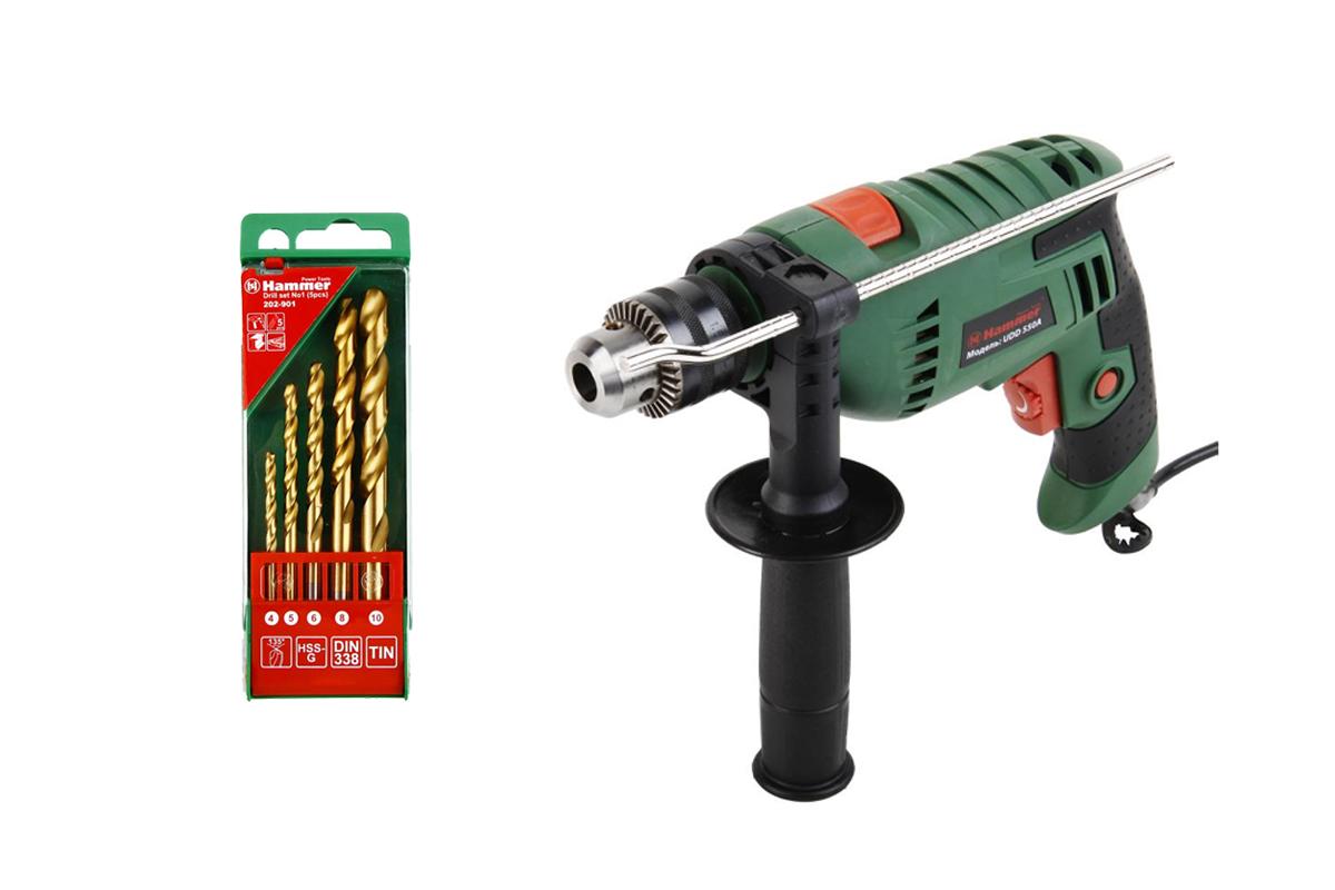 Набор: Дрель ударная Hammer Udd550a дрель ударная hammer udd1100a