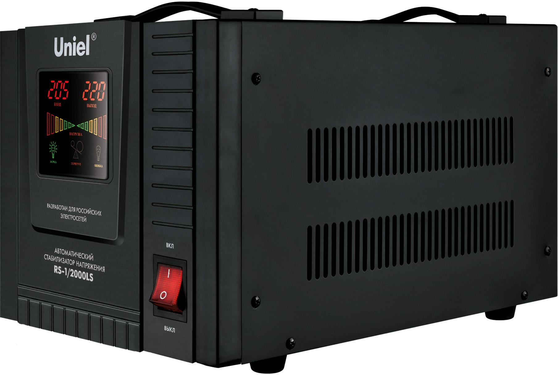 Стабилизатор напряжения Uniel Rs-1/2000ls стабилизатор напряжения uniel 09499 2000ва rs 1 2000ls