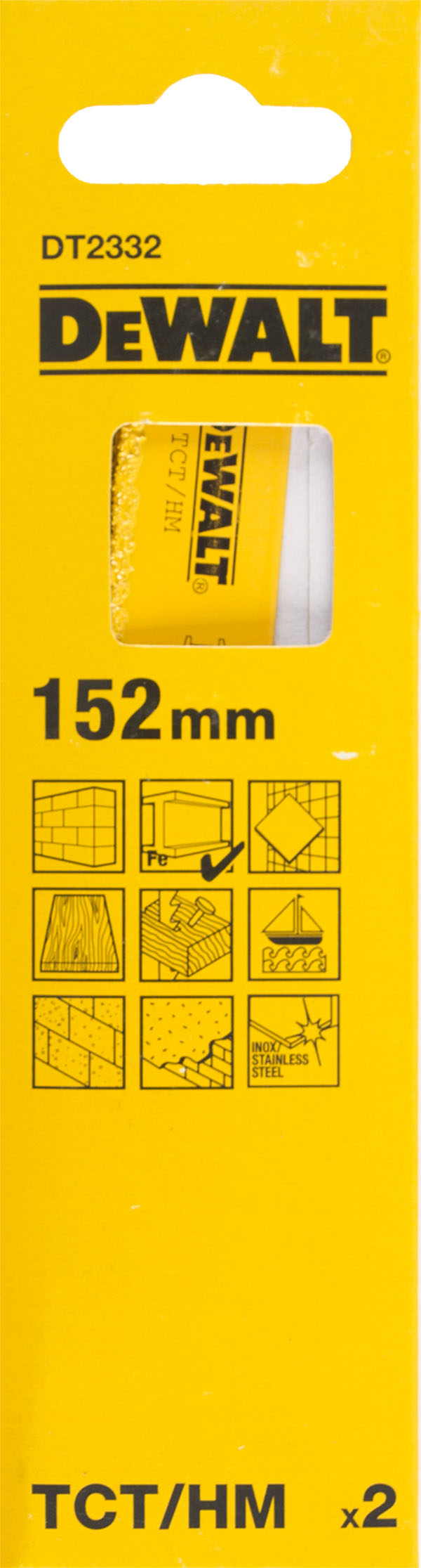 Полотно для сабельной пилы Dewalt 152мм, НМ, 2шт/уп (dt2332-qz) полотно dewalt dt2422 для сабельной пилы s2243hm 457 мм dt2422 qz