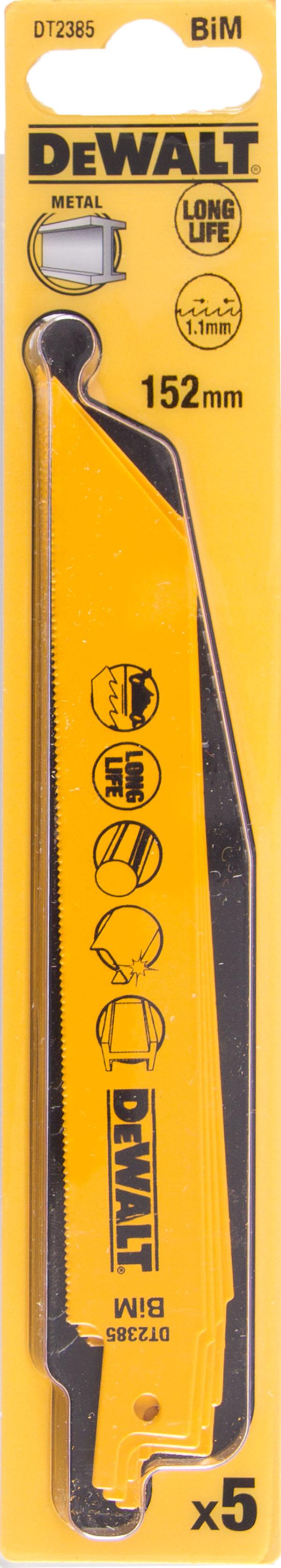 Полотно для сабельной пилы Dewalt 152мм, tpi 22, bim, 5шт/уп (dt2385-qz) полотно dewalt dt2422 для сабельной пилы s2243hm 457 мм dt2422 qz