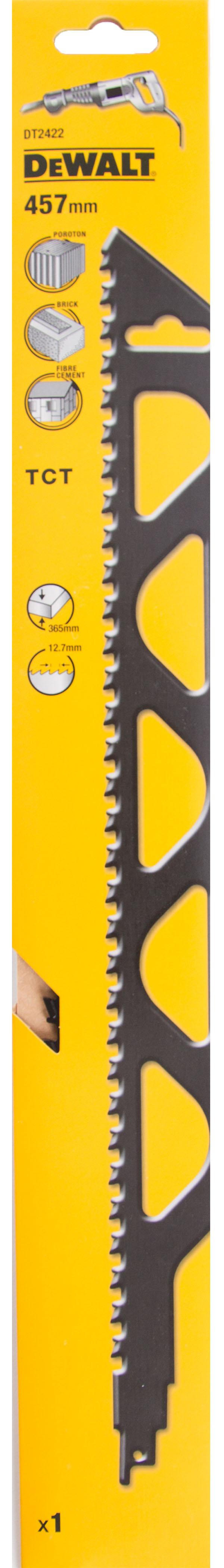Полотно для сабельной пилы Dewalt 457мм, tpi 2, НМ, 1шт/уп (dt2422-qz) полотно dewalt dt2422 для сабельной пилы s2243hm 457 мм dt2422 qz