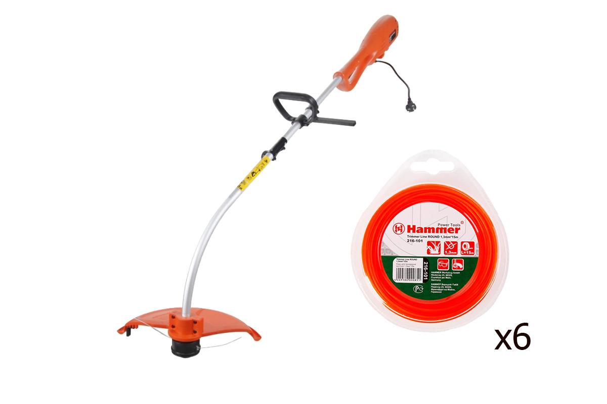 Набор: Триммер Hammer Etr1100 набор газонокосилка триммер hammer набор газонокосилка электро hammer flex etk 1400 триммер hammer flex etr 300