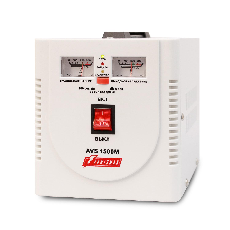 Стабилизатор напряжения Powerman Avs 1500m стабилизатор напряжения powerman avs 15000d avs 15000d
