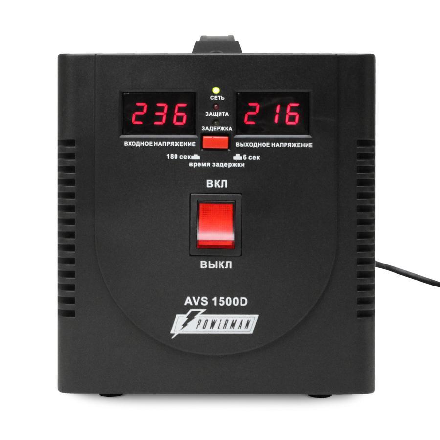 Стабилизатор напряжения Powerman Avs 1500d black стабилизатор напряжения powerman avs 15000d avs 15000d