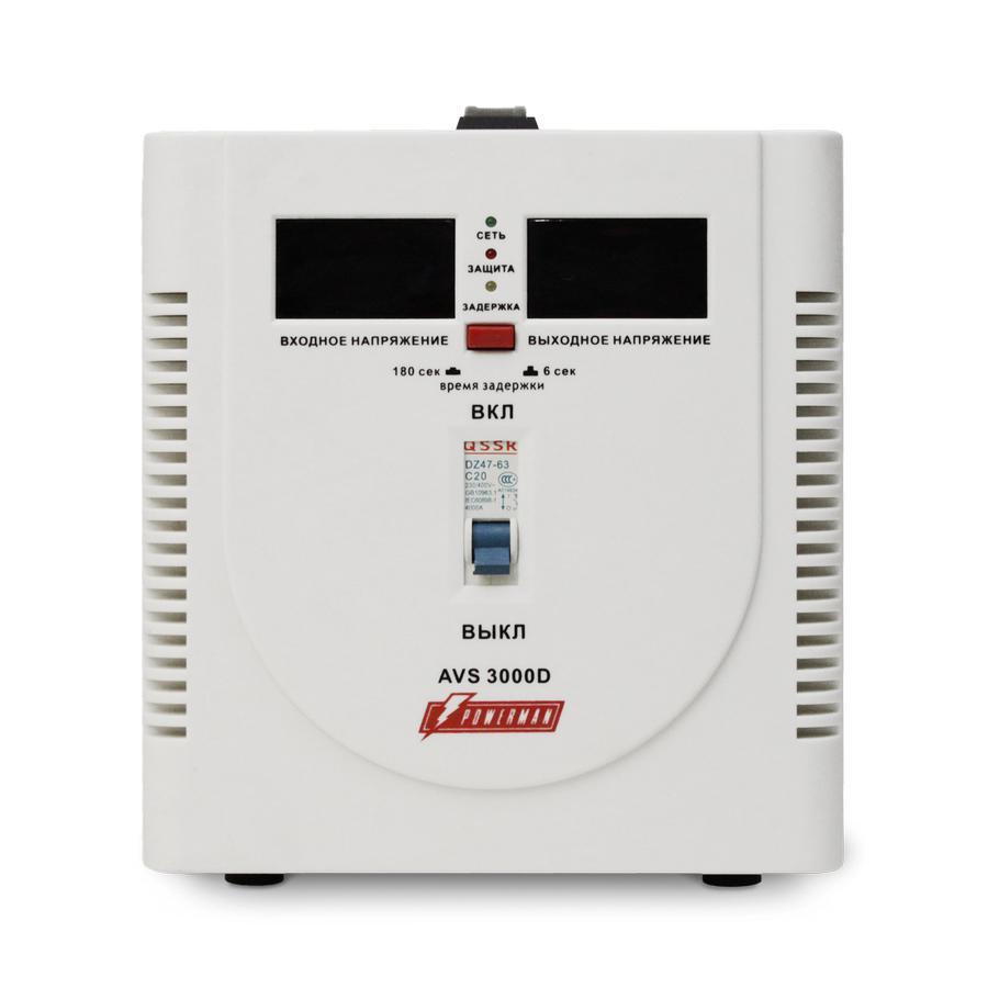 Стабилизатор напряжения Powerman Avs 3000d стабилизатор напряжения powerman avs 15000d белый