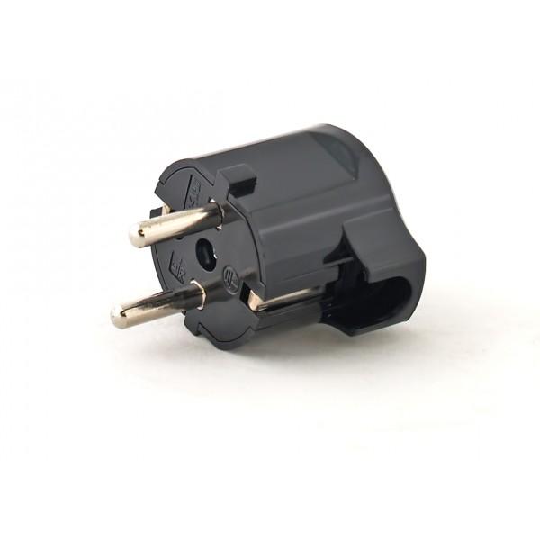 Вилка Electraline 55024  угловая плоская вилка за шкаф с з 16а черная flat plug electraline 55045