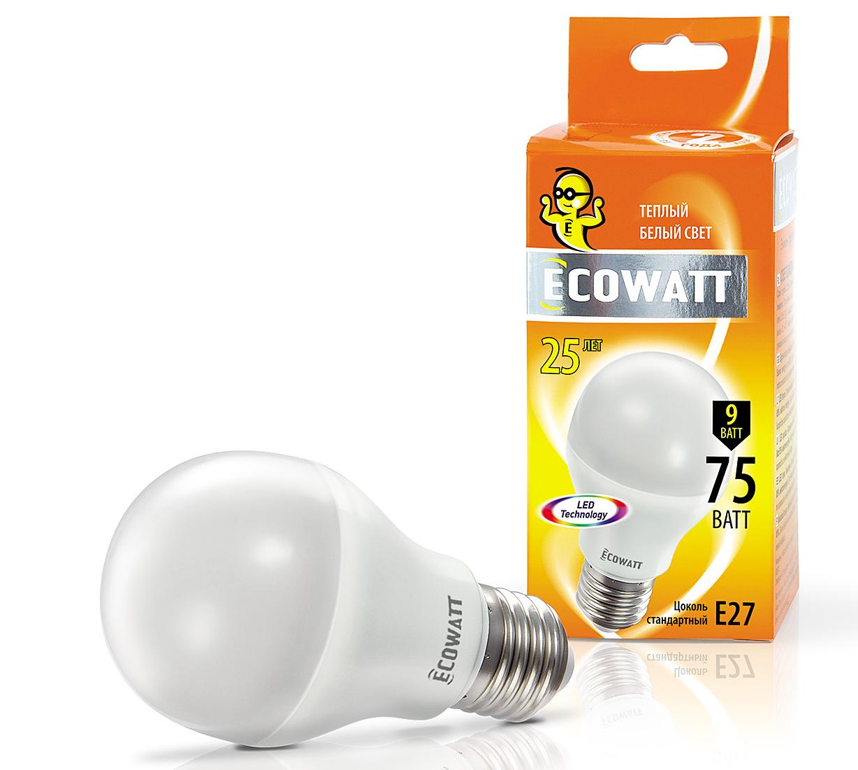 Купить Лампа светодиодная Ecowatt A60 230В 9(75)w 2700k e27