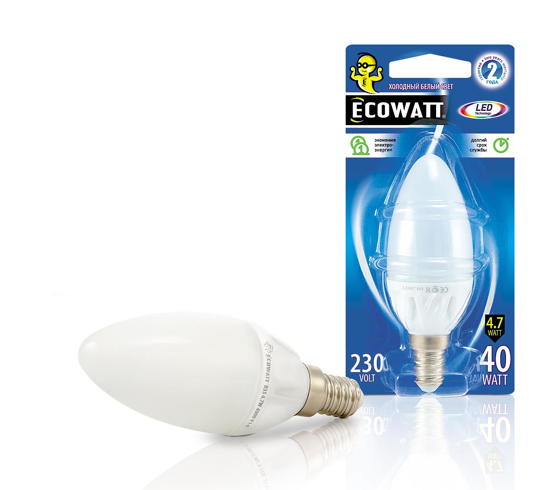 Лампа светодиодная Ecowatt B35 230В 4.7(40)w 4000k e14