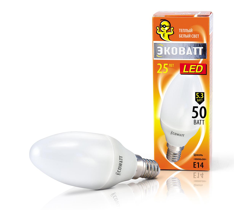 Купить Лампа светодиодная Ecowatt B35 230В 5.3(50)w 2700k e14
