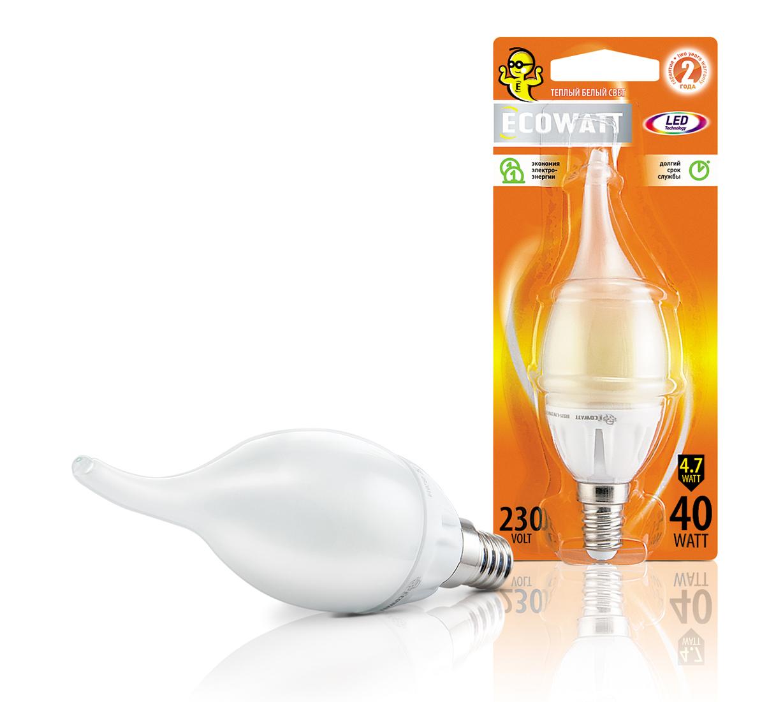 Купить Лампа светодиодная Ecowatt Bxs35 230В 4.7(40)w 2700k e14
