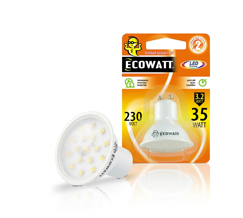 Купить Лампа светодиодная Ecowatt Gu10 230В 3.2(35)w 2700k gu10
