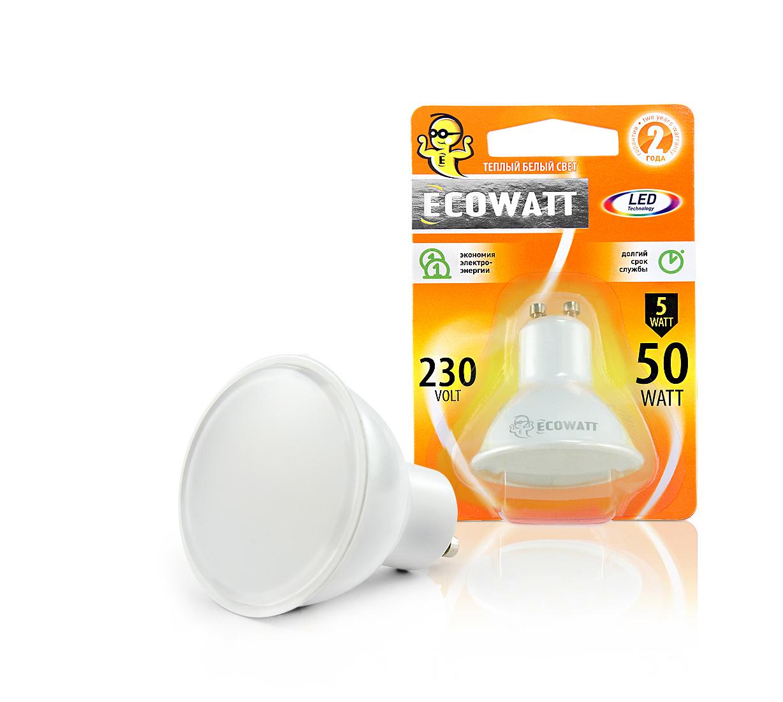Лампа светодиодная Ecowatt Gu10 230В 5(50)w 3000k gu10 тушь для ресниц chado mascara divin 230 цвет 230 brun variant hex name 635352