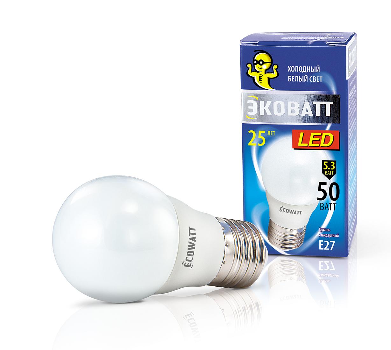 Лампа светодиодная Ecowatt P45 230В 5.3(50)w 4000k e27 лампочка ecowatt шарик p45 e14 5 3w 230v 2700k warm white