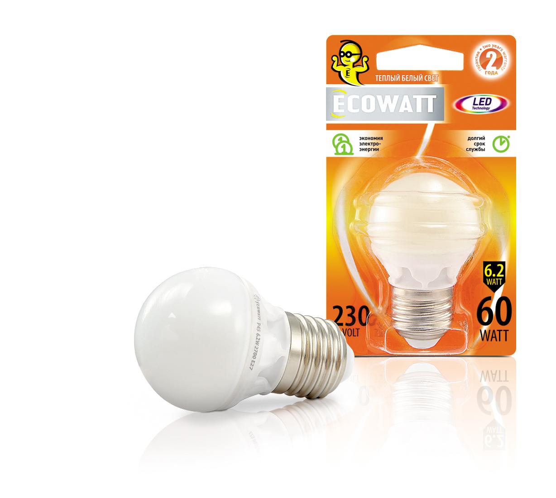 Лампа светодиодная Ecowatt P45 230В 7(60)w 2700k e27