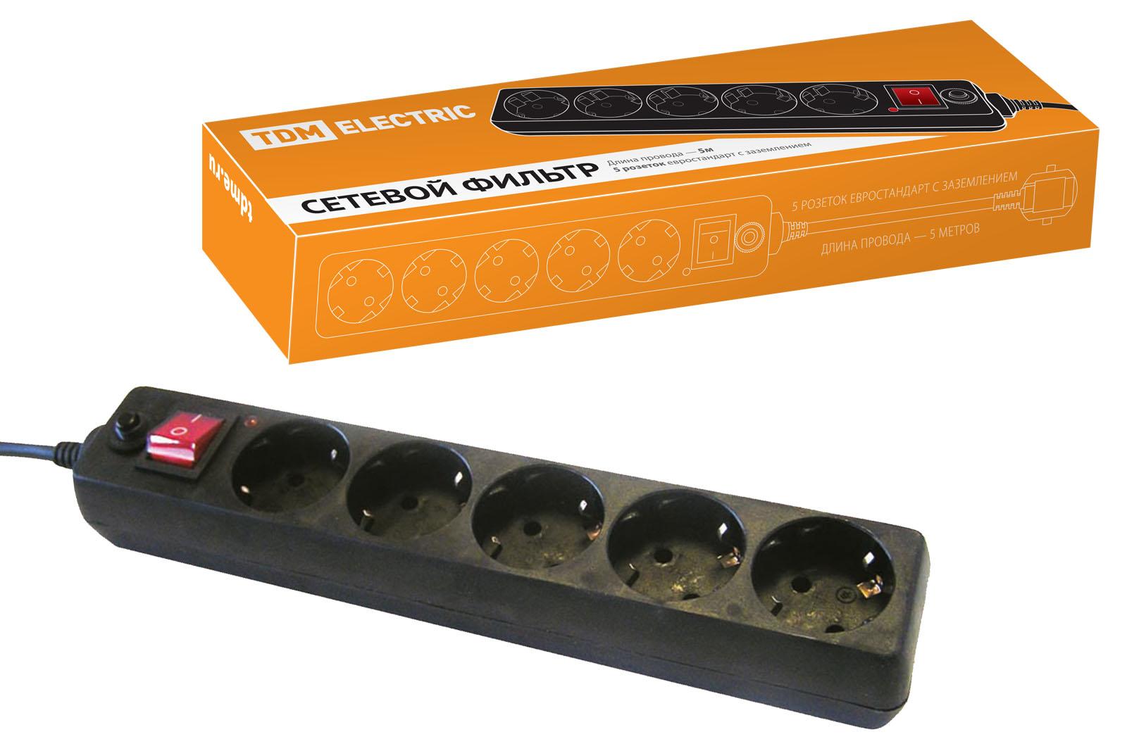 Сетевой фильтр Tdm Sq1304-0003 кнопочный выключатель с индикацией tdm вки 47 зеленый led 2но 1нз ac dc sq0214 0003