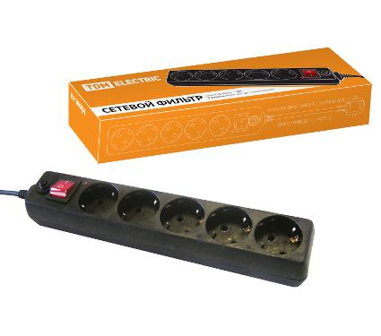 Сетевой фильтр TDM ПВС 3х1 5 гнезд черный SQ1304-0003