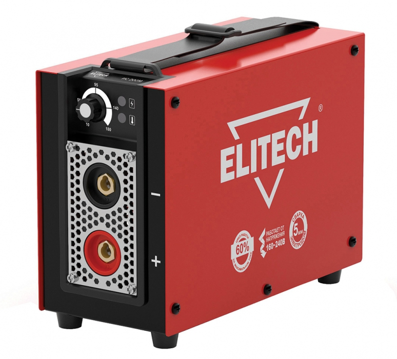 Сварочный аппарат ElitechСварочные аппараты<br>Макс. сварочный ток: 180,<br>Мощность: 4100,<br>Мощность полная: 4100,<br>Напряжение: 220,<br>Мин. входное напряжение: 160,<br>Выходной ток: 10-180,<br>Напряжение холостого хода: 85,<br>Мин. диаметр электрода: 1.6,<br>Макс. диаметр электрода: 5,<br>Тип сварочного аппарата: инверторный,<br>Тип сварки: дуговая (электродом, MMA),<br>Инверторная технология: есть,<br>Размеры: 248x112x194,<br>Степень защиты от пыли и влаги: IP 21S,<br>Класс: бытовой,<br>Режим работы ПН %: 60<br>