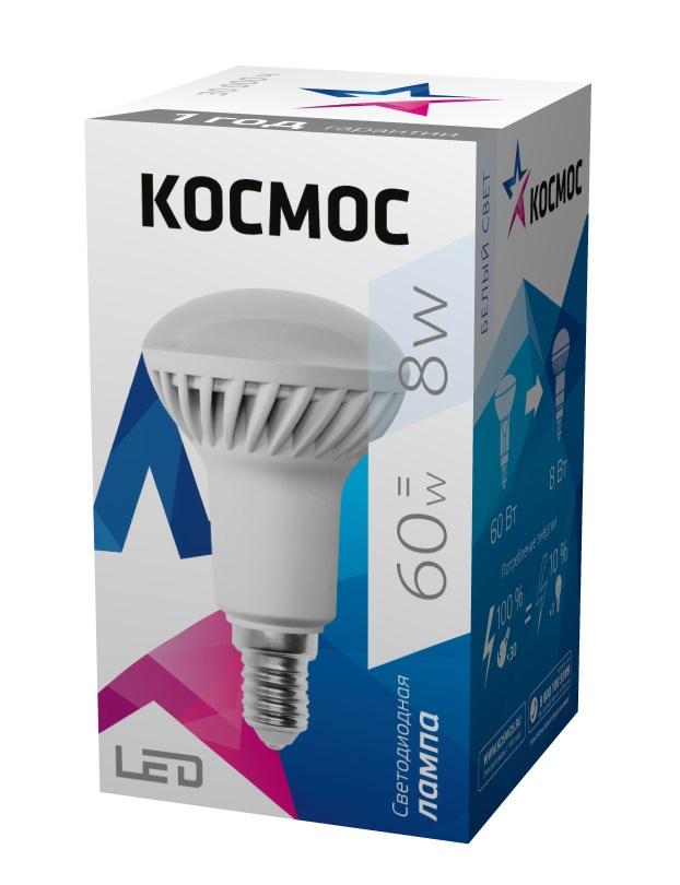 Лампа светодиодная КОСМОС Led r50 8Вт 220В e14 3000К лампа светодиодная космос led cw 7вт 220в e14 3000к
