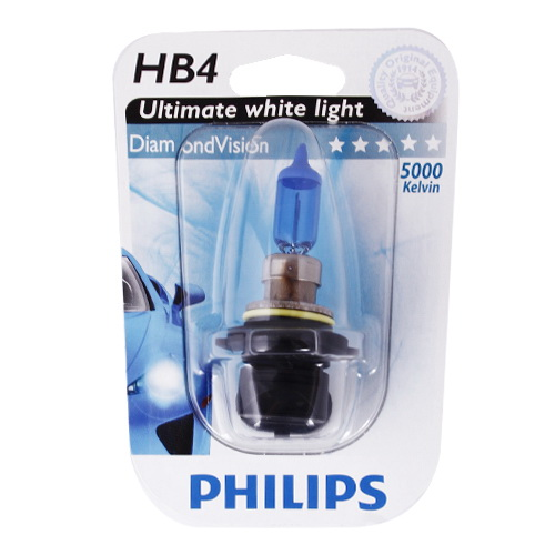 Автолампа Philips Hb4/9006 (55) p22d diamond vision 5000k (блистер) 12v /1/10 new 1 pair h4 led h7 h11 h1 h3 9005 hb3 9006 hb4 led car light h8 h9 auto bulb headlight 6000k