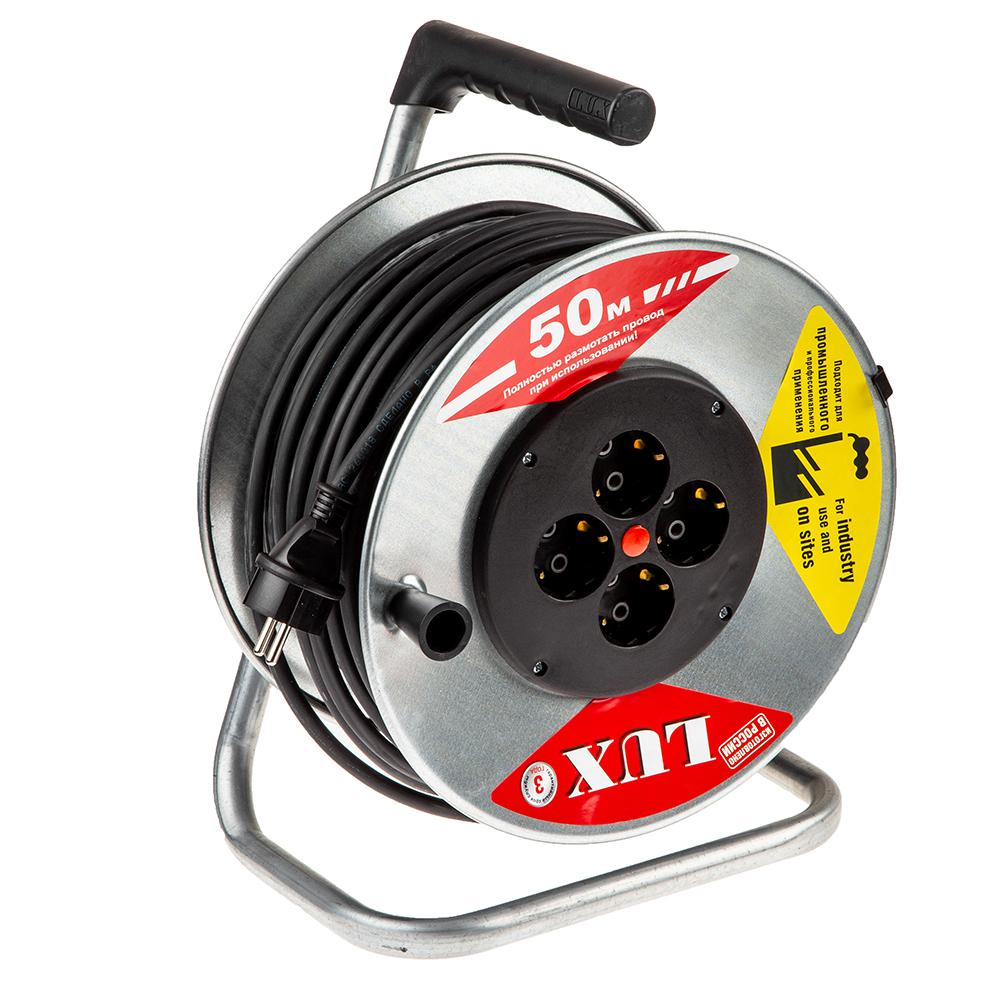Удлинитель Lux 44150 К4-Е-50 КГ силовой удлинитель на катушке к1 0 25 lux 4606400417552