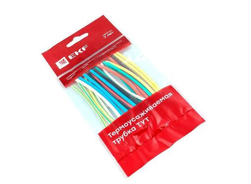 Термоусадочная трубка EKF ТУТ Ф2/1мм 10см разноцветные (277325)