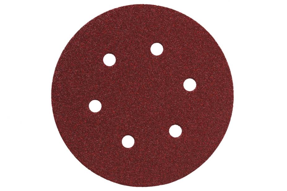 Круг шлиф. самосцепляющийся Metabo 150мм p120 6отв. абразивный круг velcro dexter p120 8 отверстий d180 мм
